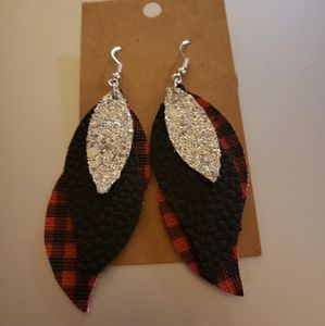 3 layer faux leather earring
